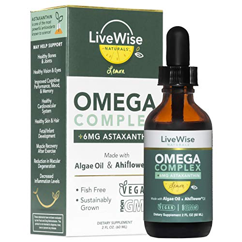 Vegan DHA Omega 3 Fatty Acids for Women and Men – Algae Omega 3 DHA Supplements – Fish-Free EPA DHA Vegan Omega 3 Supplements w/Ahiflower Oil and Astaxanthin Supports Heart, Brain, and Joint Health